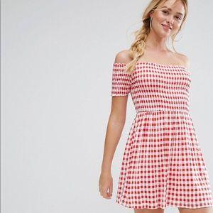 Off shoulder red gingham dress